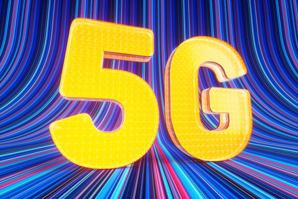 Big glowing 5G sign standing on stripped ramp.