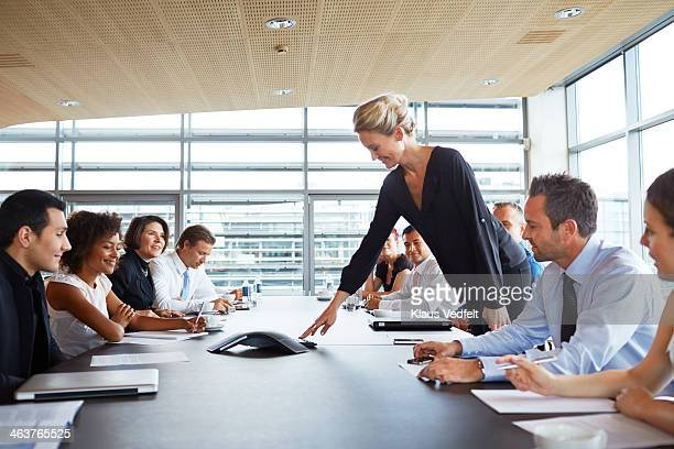 Big group of businesspeople making conference call