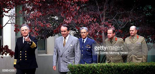 from left Admiral Chris Barrie the then defence minister John Moore Air Marshal Errol McCormack MajorGeneral Des Mueller General Peter Cosgrove 2 May...