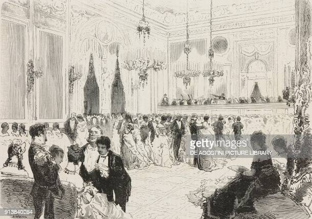 A big hall of the Hotel de la Ville houses a benefit ball on the 1875 Carnival in Naples Italy illustration after a drawing by Edoardo Dalbono from...