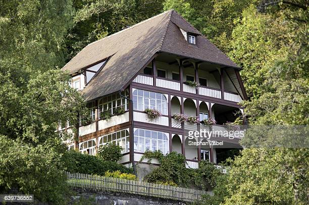 big house on hill in forest trees - real_property stock pictures, royalty-free photos & images