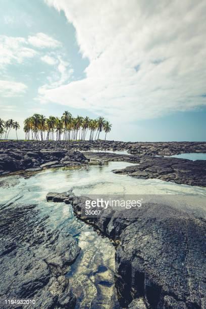 大きな島, ハワイ諸島, 溶岩ビーチ - ハワイ火山国立公園 ストックフォトと画像