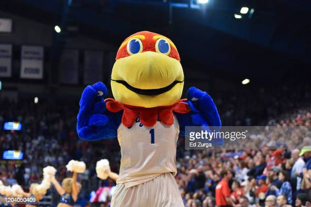 Big Jay the Kansas Jayhawks mascot entertains against the Texas Longhorns at Allen Fieldhouse on February 3, 2020 in Lawrence, Kansas.