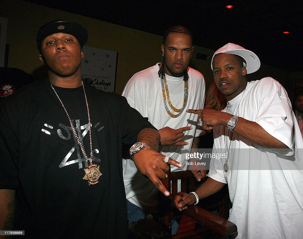 Big Jon, Slim Thugg and Steve Francis during Boost Mobile Presents ZO and Magic's 8 Ball Challenge Celebrity Pool Tournament at Jillian's of Houston in Houston, Texas, United States.