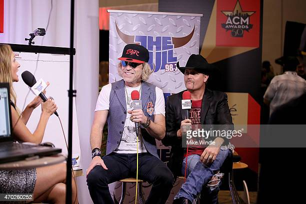 Big Kenny and John Rich of Big Rich speak at the Red Carpet Radio presented by Westwood One Radio during the 50th Academy of Country Music Awards at...