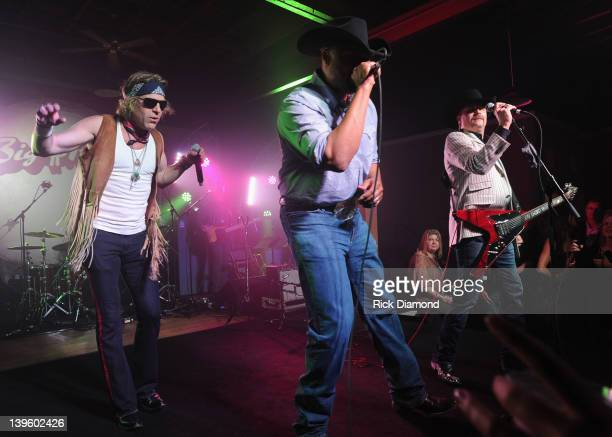 Big Kenny and John Rich of Big Rich with Cowboy Troy perform during Warner Music Nashville's Warner Wednesday at aVenue on February 22 2012 in...