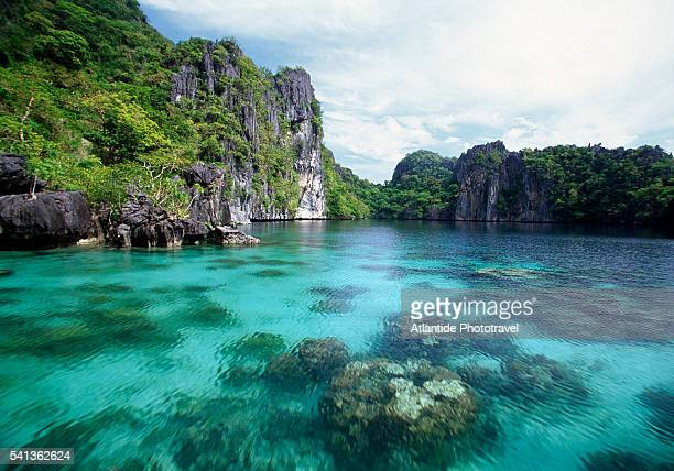 big lagoon at miniloc island - el nido stock pictures, royalty-free photos & images
