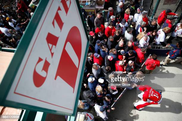 Big League Brian works the crowd as people wait to get into Opening Day at Fenway Park in Boston on Apr 3 2017