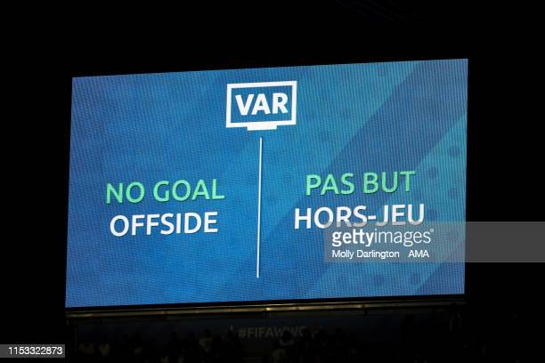 A big LED screen shows a No Goal Offside VAR decision for Ellen White of England during the 2019 FIFA Women's World Cup France Semi Final match...