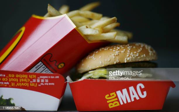 A Big Mac hamburger and french fries are pictured in a McDonalds fast food store in Central London on August 6 2008 McDonald's launched a campaign on...