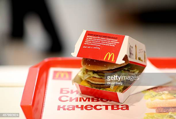 A Big Mac hamburger sits on a tray inside a McDonald's Corp fast food restaurant in Moscow Russia on Tuesday Oct 28 2014 More than 200 of McDonald's...