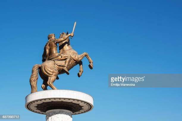 Big Macedonian statue located in the Skopje square - Alexander the great statue in Skopje