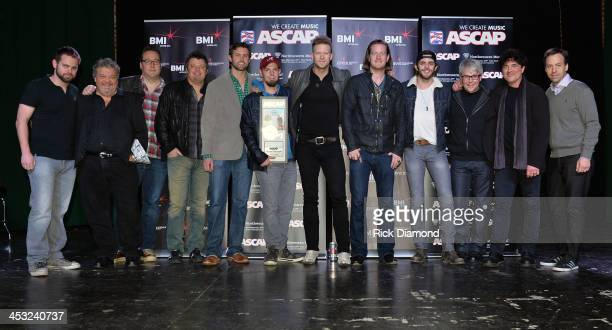 ASCAP Big Machine Label Group and BMI Hosts Florida Georgia Line and Celebrates Round Here No 1 song Awardwinning songwriters Rodney Clawson Chris...