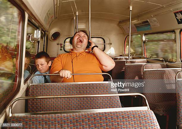 Big Man Listening to Stereo