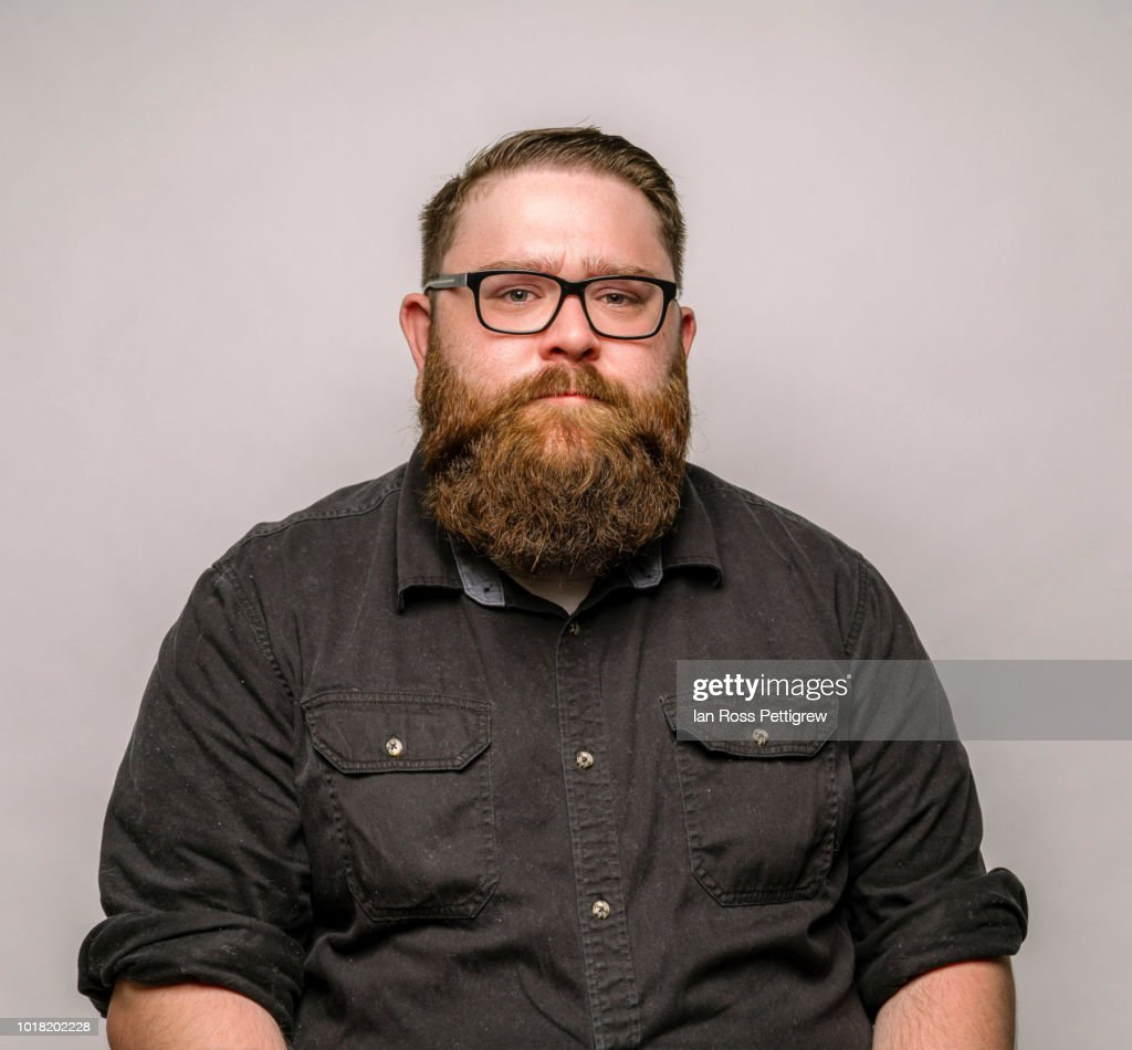 Big man with beard and glasses : Stock Photo