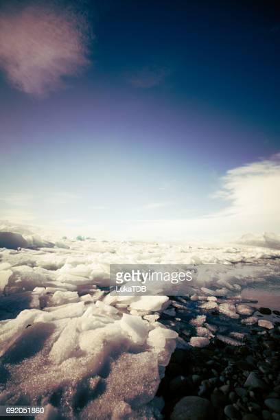 Big massive frozen lake on Iceland