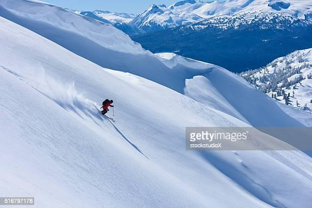 Big mountain powder skiing