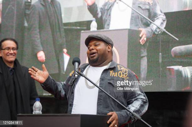 Big Narstie during the Music Walk Of Fame Amy Winehouse stone unveiling the third stone to be placed on Camden Highstreet on March 04 2020 in London...