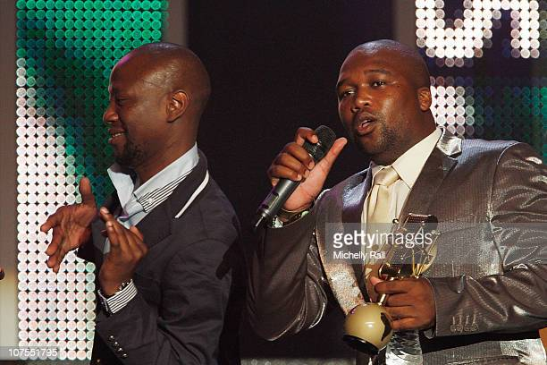 Big Nuz accepts the MAMA Trophy for Best Performance at the EKO Expo Centre at the MTV Africa Music Awards 2010 with Airtel on December 11 2010 in...