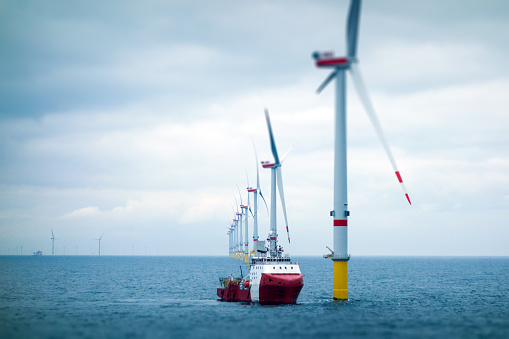 Big Offshore wind-farm with transfer vessel 1138600688