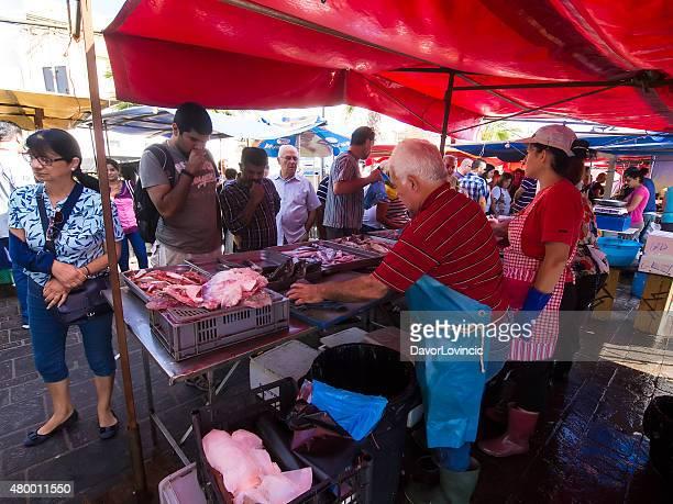 big open-air market in  marsaxlokk, malta... - marsaxlokk stock pictures, royalty-free photos & images