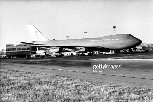 A 'Big Orange' Braniff International Airlines' Boeing 747 'Jumbo Jet' at Newcastle Airport The aircraft had landed after being diverted from Gatwick...