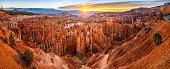 big panoramic photo of sunrise in Bryce Canyon National Park. Utah, USA.