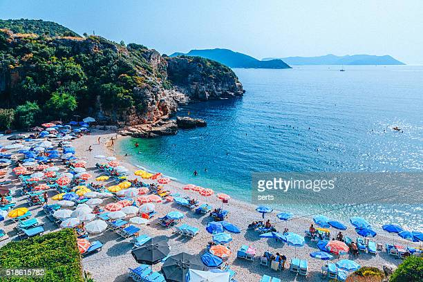 big pebble beach - paradise in kaş - antalya province stock pictures, royalty-free photos & images