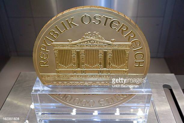 'Big Phil' the biggest gold coin in Europe in the vault of the pro aurum Goldhaus on February 19 2013 in Munich Germany The coin was made for the...