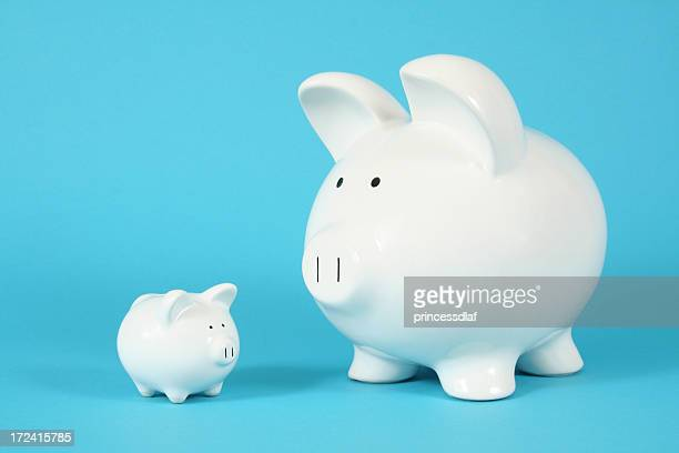 a big piggy bank and a smaller one - small stock pictures, royalty-free photos & images