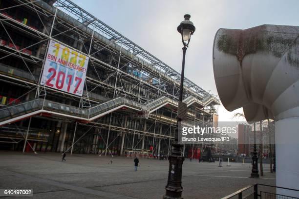 Big placard on the exterior facade announces the Centre national d'art et de culture Georges Pompidou 40th anniversary on January 24, 2017 in Paris,...