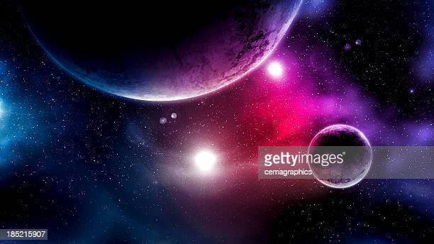 big planets and shining stars galaxy in space - spaceship stock photos and pictures