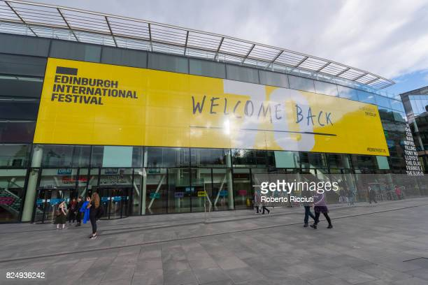Big poster of the Edinburgh International Festival covers the Omni Centre in Leith Street five days before the official start of the 70th edition of...