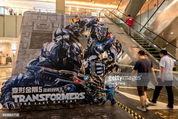 Big posters of film Transformers 5 the last knight in a shopping mall Transformers 5 the last knight directed by Michael Bay and starred by Mark...