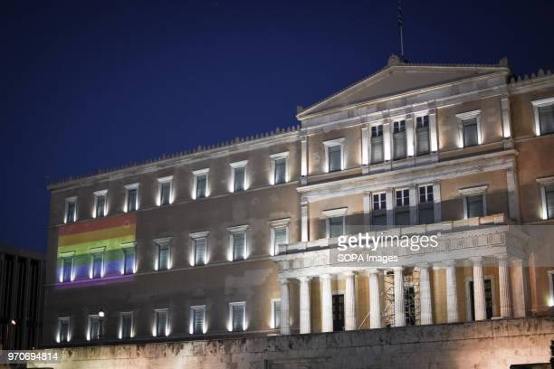 A big pride flag with rainbow colors seen front of the Greek Parliament at the festival This year's Pride theme was discrimination against women with...