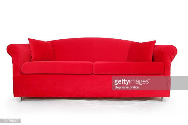 big red couch on a white background - sofa stock pictures, royalty-free photos & images