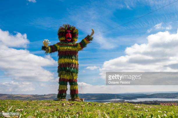 A big Reveller from the Portuguese village of Podence dressed in a traditional costume during annual Carnival festivities on February 26 2017 in...
