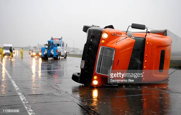 A big rig is overturned on eastbound Interstate 80 about a mile west of the Interstate 5/99 interchange in Sacramento California January 4 2008