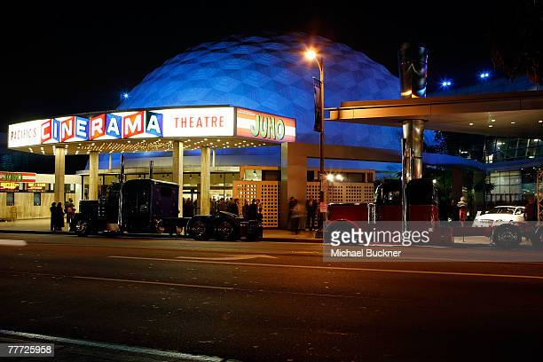 """Big rig trucks are parked outside of the Cinerama Dome attend the """"Big Rig"""" party during AFI FEST 2007 presented by Audi held at the Rooftop Village..."""