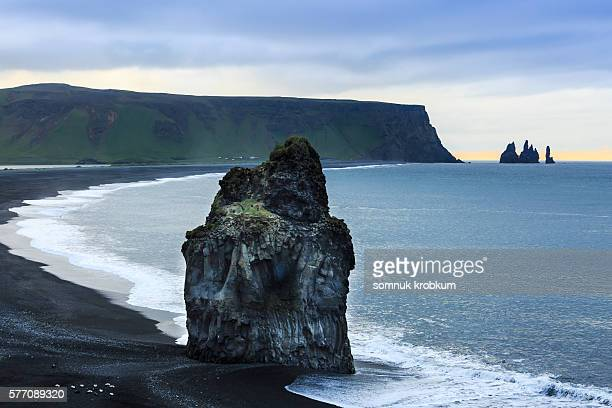 Big rock on the black beach at morning time summer in Vik, Iceland