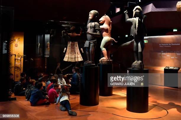 Big royal statues of the Kingdom of Dahomey dating back to 18901892 are pictured on June 18 2018 at the Quai Branly MuseumJacques Chirac in Paris...