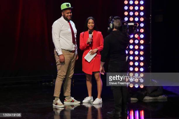 Big Saint talks with Autumn Johnson during the NBA 2K League Draft on February 22 2020 at Terminal 5 in New York New York NOTE TO USER User expressly...