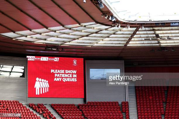 Big screen shows a message to supporters during the Sky Bet Championship match between Middlesbrough and AFC Bournemouth at Riverside Stadium on...