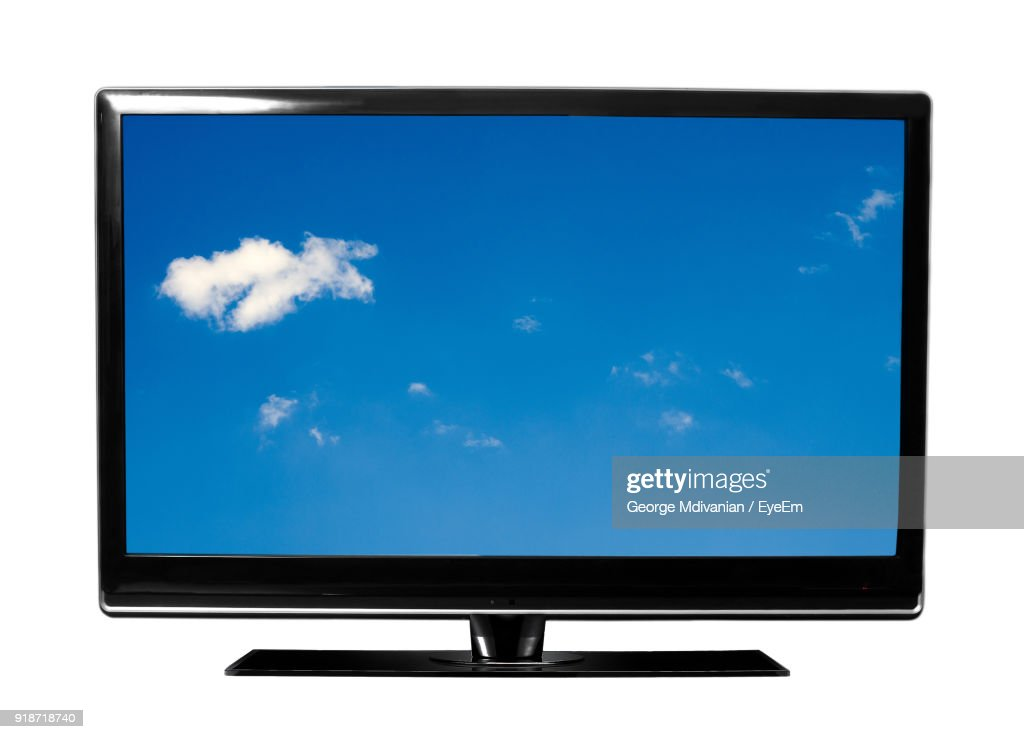 Big Screen Television Against White Background : Foto de stock