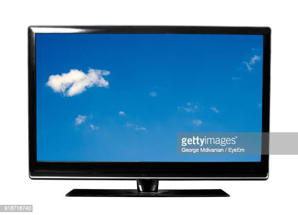 big screen television against white background - television show stock pictures, royalty-free photos & images