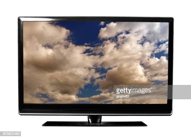 big screen television against white background - 大型テレビ ストックフォトと画像