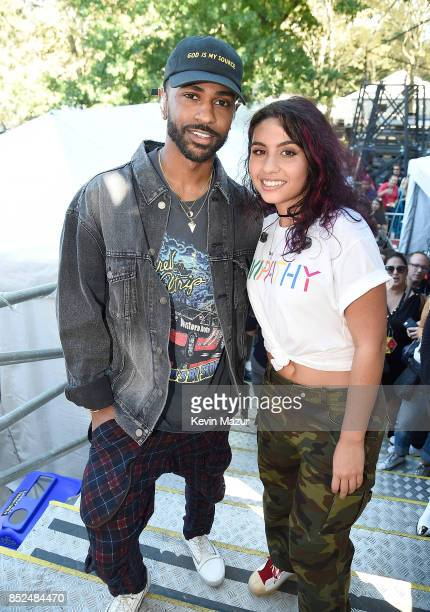 Big Sean and Alessia Cara pose backstage during the 2017 Global Citizen Festival in Central Park on September 23 2017 in New York City