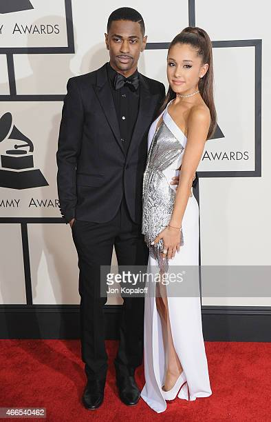Big Sean and Ariana Grande arrive at the 57th GRAMMY Awards at Staples Center on February 8, 2015 in Los Angeles, California.