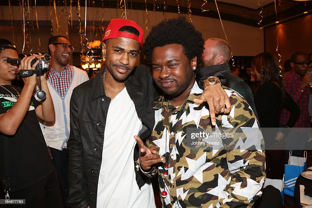 Big Sean and Cocaine 80's attend Remy Martin V Celebrates Big Sean's 25th Birthday Dinner at Wolfgang's Steakhouse on March 25, 2013 in Beverly Hills, California.