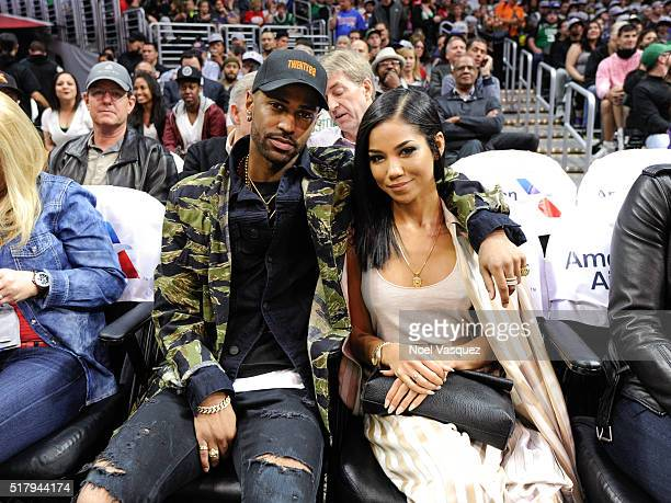 Big Sean and Jhene Aiko attend a basketball game between the Boston Celtics and the Los Angeles Clippers at Staples Center on March 28 2016 in Los...